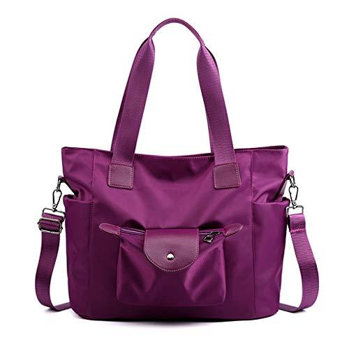 Bolsa de hombro de nailon resistente al agua de gran capacidad para mujer, color sólido, Multi color (Púrpura), Large