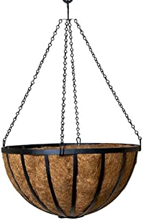 English Garden Round Hanging Basket with Extra Thick Coco Coir Liner - 22 Inch