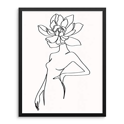 One Line Drawing Wall Art Print Abstract Woman's Body Shape with Flower Poster 11'x14' UNFRAMED Modern Abstract Artwork for Living Room Bedroom Bathroom Home Office (11'x14' BODY W FLOWER)