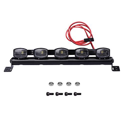 125mm LED Light Bar Roof Lamp Kit for 1/10 Traxxas Trx4 Axial SCX10 ii Wraith Gen7 RC Crawler Truck (5 light)