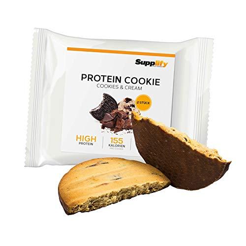 Supplify, morbido biscotto proteinico, snack per la forma fisica, a base di polvere di siero di latte e albume d'uovo