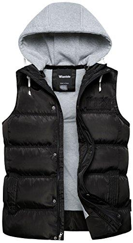 Wantdo Chaleco Acolchado para Hombre Chaleco Cálido de Invierno Chaqueta sin Mangas al Aire Libre Hombres Negro Medium
