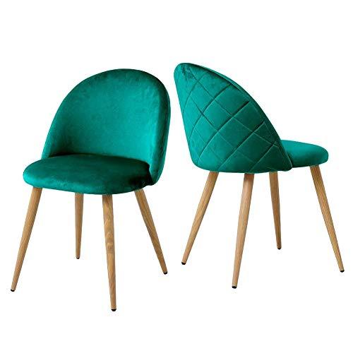 TUKAILAI 2X Stühle Esszimmerstuhl Grün - Stuhl Esszimmerstühle Homewares Stuhl für Küche, Büro, Lounge, Retro Konferenzzimmer, Polsterstuhl Esstisch Stühle Polstersesse