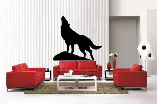 Newclew Huge Howling Wolf Silhouette Removable Vinyl Wall Decal Home Décor Large