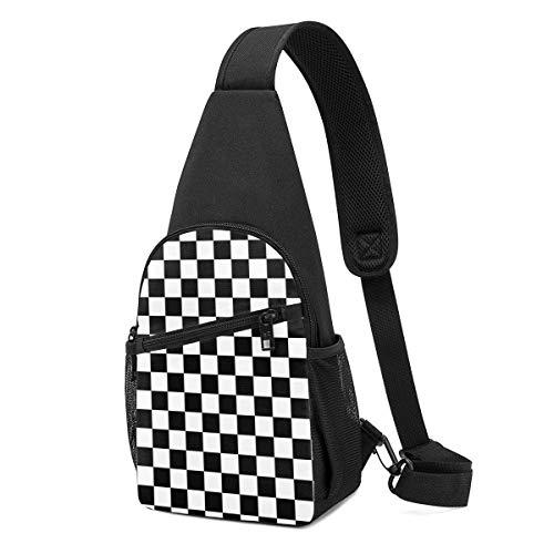 Mochila con honda a rayas a cuadros en blanco y negro, mochila en el pecho, bolsa deportiva, bandolera