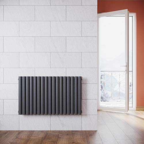 ELEGANT Radiador de Diseño Horizontal Antracita,Radiador Agua Calefacción,Paneles Elipses Doble Capa,60x100cm,1445W