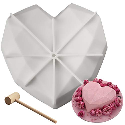 Diamond Heart Silicone Chocolate Cake Mold with Mini Wooden Hammers perfect for 3D Mousse Kitchen DIY Baking Tools