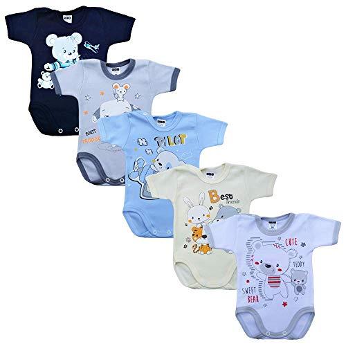 MEA BABY Unisex Baby Kurzarm-Body mit Aufdruck aus 100% Baumwolle im 5er Pack, Baby Body mit Aufdruck, Baby Body für Madchen, Baby Body für Jungen (Jungen, 86)