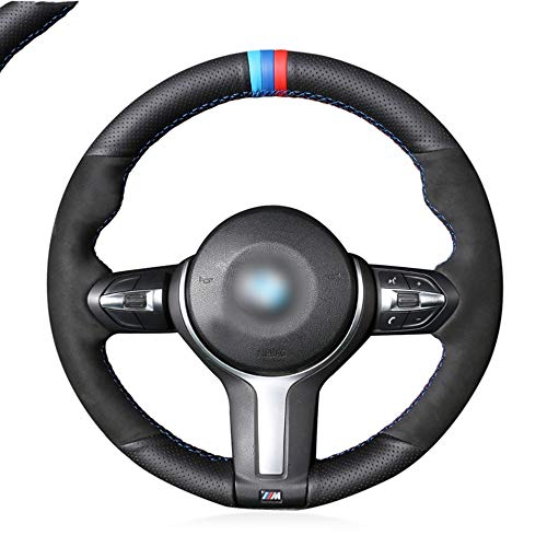 DANDELG  Black  Leather Black Steering Wheel Cover, for BMW M Sport F30 F31 F34 F10 F11 F07 X3 F25 F32 F33 F36 X1 F48 X2 F39