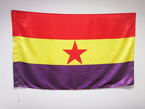 AZ FLAG Bandera ESPAÑA Republicana Estrella ROJA 150x90cm en Raso para Palo - Bandera DE LA Republica ESPAÑOLA 90 x 150 cm