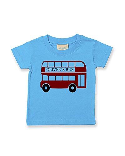 Ice-Tees T-shirt à personnaliser en coton doux pour bébé garçon Motif bus rouge avec prénom - Turquoise - 2-3 ans