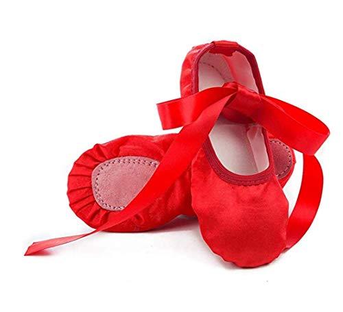 XXPP Ballet Dance Shoes Ballet Slipper Shoes Satin Ribbons Yoga Satin Flat Physical Shoe for Girls Red