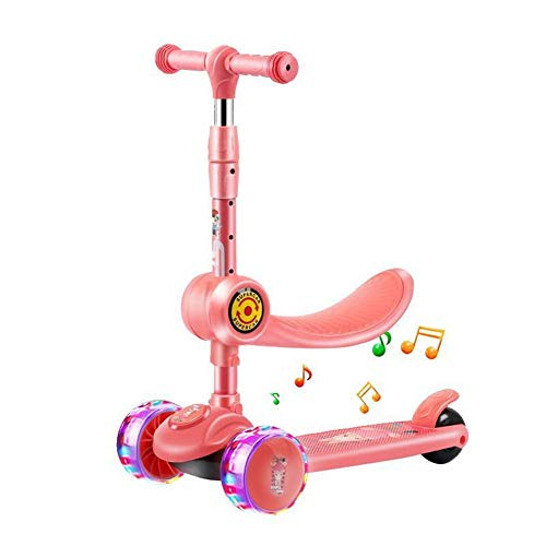 Patinete infantil plegable para niños, altura ajustable, luz intermitente, 3 ruedas, patinete, para niños, para niños (rosa)