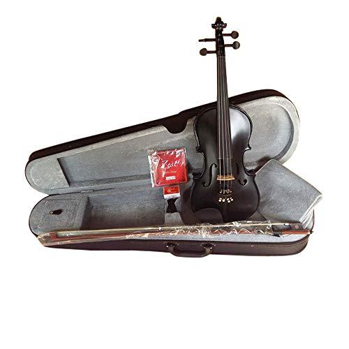 Zest Violins 3/4 dimensioni ideali per bambini da 10 a 12 anni violino completo completo acustico Matt Metallic Black Student Violins con arco, corde, colofonia, istruzioni e custodia imbottita (3/4)