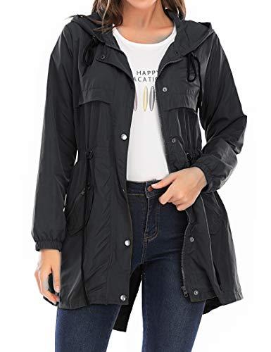 Enjoyoself Damen Regenmantel mit Kapuze Regenfest Atmungsaktiv Lange Regenjacke mit Große Taschen Leichte Dünne Sommer Wanderjacke,Schwarz,XL