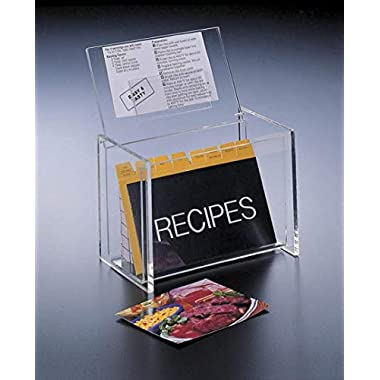 Acrylic Lucite Recipe Box Holder with Lid display Box and Recipe Cards 5 x 3 by Huang Acrylic