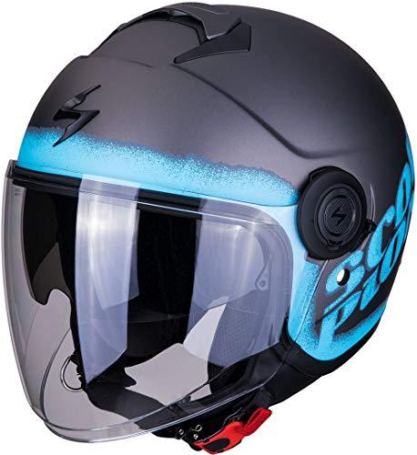 SCORPION Casque moto EXO-CITY BLURR Matt Silver-Blue, Bleu/Gris, XS
