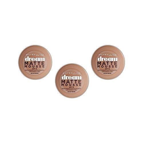Maybelline New York Base de maquillaje Dream Mat Mousse 48 Beige Ensoleillé, Juego de 3 (3 x 18ml)