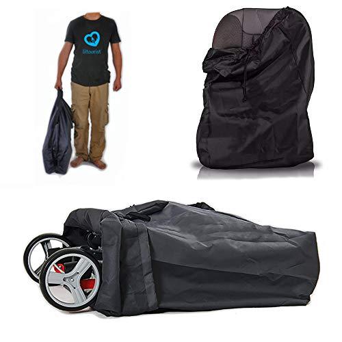 Liltourist Bolsa de transporte para cochecito de bebé, bolsa de viaje con correa, Gate Check Bag (negro)