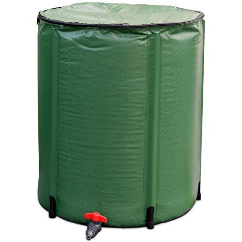 COSTWAY Barril de Lluvia Plegable de 200L Tanque de Agua de Lluvia de PVC con Grifo y Válvula de...