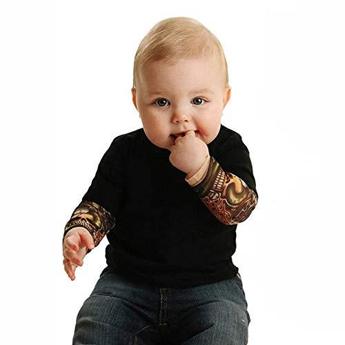 Tonsee Neugeborenes Baby Tattoo Ärmel Overall Langarm Strampler Jungen Coole Gedruckt Langarm T-Shirt Bequem Cotton Oberteile Patchwork Langarmshirts Mode Herbst Body Babykleidung (70, Schwarz)