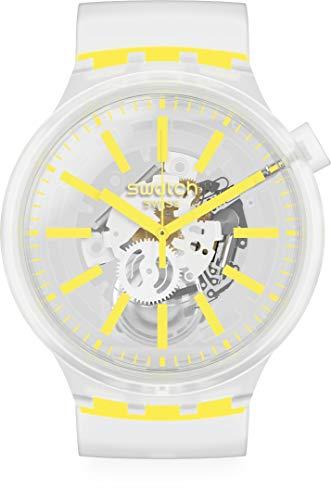 Swatch Swiss Quartz Silicone Strap, Transparent, 24 Casual Watch (Model: SO27E103)