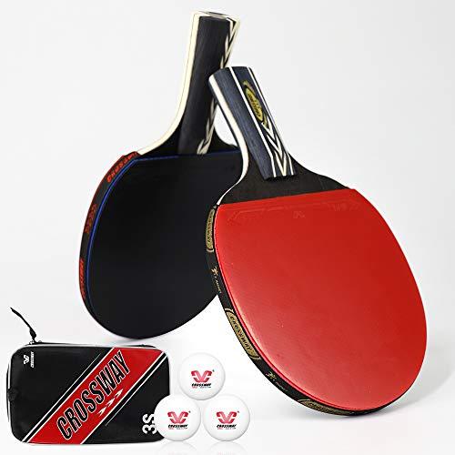 Crossway Sports Profi Ping Pong Paddel Set mit 2 Tischtennisschlägern inkl. 3 Bällen & Tragetasche Indoor für Familienspiel, Spaß, Training und offiziellen Wettbewerb (Penhold & Shakehand Mixed)