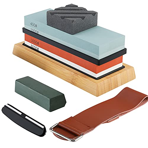 Piedra de afilar, kit de piedra de afilar premium 400/1000 3000/8000, afilador de cuchillos de doble cara para todas las cuchillas con base antideslizante, guía de ángulo de cuero para afilar