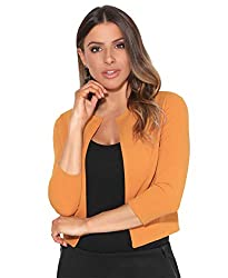 """Length from shoulder: 13""""/33cm [9176]; 15""""/38cm [5026, 5159 & 9330] Model wears: UK 8/SM (UK 8-10); Model's height: 172cm/5'8"""" Collarless crew neckline, 3/4 sleevecropped length Evening shrug. Cropped party bolero. Short occasion jacket. Wedding gues..."""