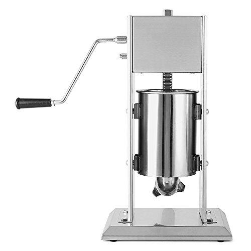 BuoQua 10 Liter Wurstfüllmaschine Manuell Gewerbe Wurstfüller mit Fülltrichter Edelstahl Wurstspritze für Salami Leberwurst usw