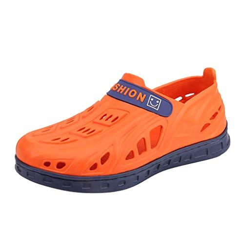 iYmitz Sommer Schlappen Herren Wohnungen Strand Sandalen Flip Flops atmungsaktiv Loch Schuhe Hausschuhe Mode für Herren Damen (Orange,EU-43/CN-44)