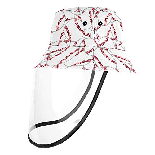 UV-blockierender Fischerhut für Regenwasser, Speichelwasser, abnehmbarer Schutzhut für Damen und Herren, weißer Baseball, Tennisball, Weißer Baseball-Tennisball, Head Circumference 21.2 Inches(54cm)