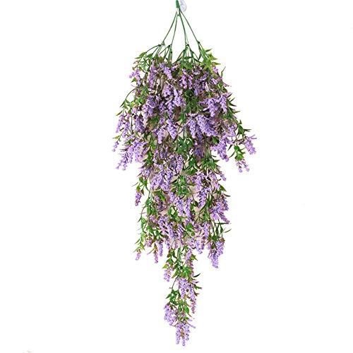 Amzanjon Artificial Ivy Vines, 1Pc Artificial Lavender Fake Flower Wall Hanging Vine Rattan Wedding Party Decor - Purple