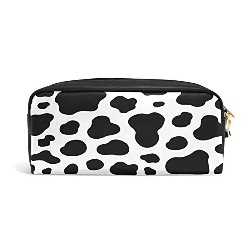 ALAZA Black White Cow Print Animal PU Leather Pen Pencil Case Pouch Case Makeup Cosmetic Travel School Bag