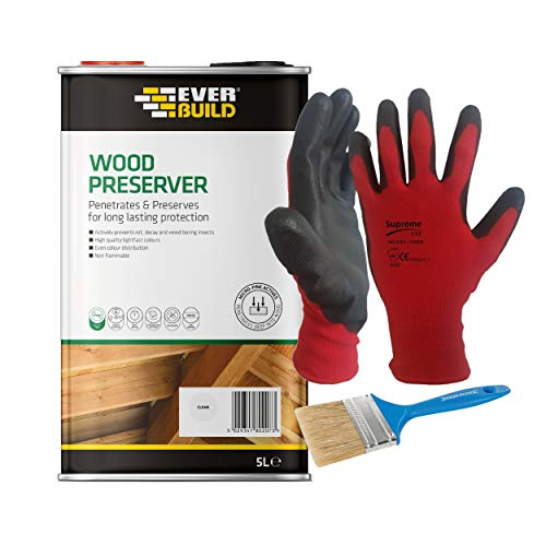 Nassboards Everbuild Lumberjack Wood Preserver - Solvent Free with Micro-fine Active Technology - Algae and Fungus Resistant, Single Coat Wood Protector for Interior and External Use - 5 Litre, Clear