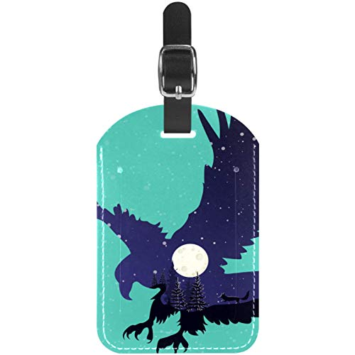 Night Galaxy Eagle Travel Leather Luggage Tags Personalised for Suitcases Funny Mini Baggage tag Business Card Holder/Travel Bag Tag 2.8x4.5in