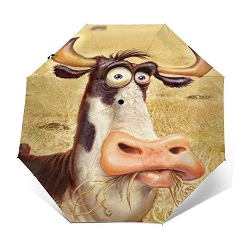 TISAGUER Regenschirm Taschenschirm,Handgezeichnetes Bild der Karikatur,eine Kuh,die auf der Weide weidet,Auf Zu Automatik,windsicher,stabil