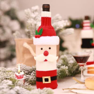 AQZMEA Weihnachtsdekoration Liefert Flasche Set Champagner Wein Kreative Wein Set Hotel Restaurant Urlaub Layout 28 x 12cm oder so Neuer gestrickter Wein Set Alter Mann