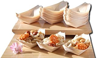 Barcos de madera de bambú x100 para los alimentos del partido bocados picar canape aproximadamente 115X75m m - comprueb...