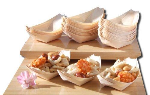 100 Schiffchen aus Bambusholz für Party-Häppchen, Snacks und Knabbereien; 115 x 75mm