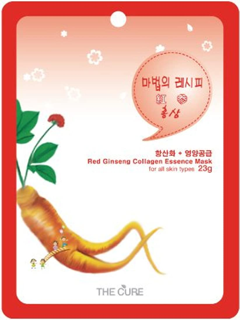 厚い有効紛争紅参 コラーゲン エッセンス マスク THE CURE シート パック 10枚セット 韓国 コスメ 乾燥肌 オイリー肌 混合肌