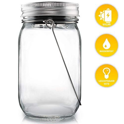 Lacari ® Original Solarglas - Auch Als Gartenleuchte oder Hängeleuchte - Wasserdichte Solarlampe - Hochwertige Solarleuchte Im Einmachglas - Gemütliches Sonnenlicht