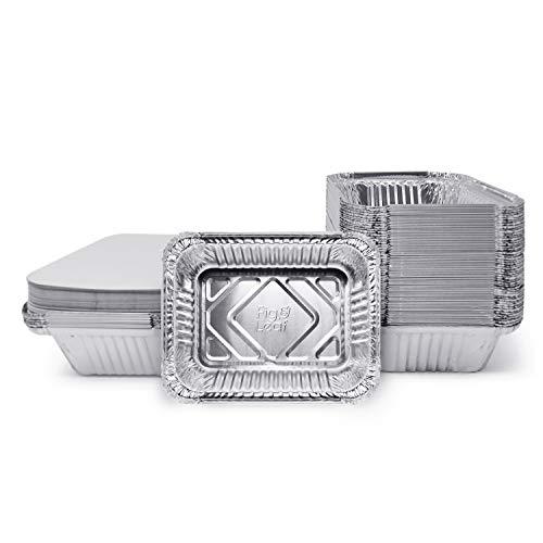 (120 Pack) Premium 1.5-LB Takeout Pans with Lids l Medium 7' x 5' x 2' l Heavy Duty Disposable Aluminum Foil for Catering Party Meal Prep Freezer Drip Pans BBQ Potluck Holidays
