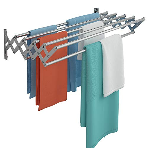 Qurutma Wall Mounted Clothes Drying Rack,Stainless Steel Accordion Retractable Drying Rack for Laundry Room Bathroom Tower,Easy to Install 31-inch Rod, 60 lb Capacity- Indoor and Outdoor Use