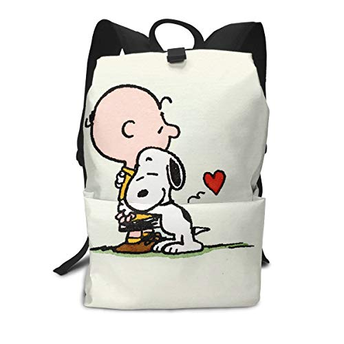 Charlie Brown Meeting Snoopy for The First Time Adult Backpack Lightweight Laptop Shoulder Bag Travel Daypack Bag Unisex Adult Teens Gift
