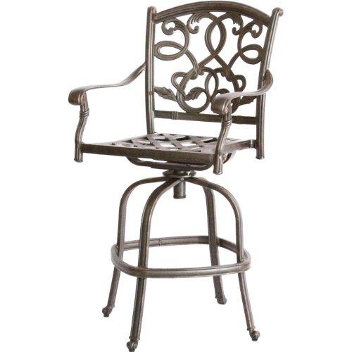 Hot Sale Heritage Outdoor Living Santa Monica Cast Aluminum Barstool - Set of 4 - Antique Bronze