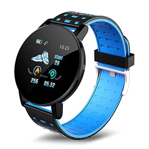 Yumanluo Reloj Inteligente Mujer Hombre,Correas de Dos Colores, Ejercicio Inteligente, Pulsera de frecuencia cardíaca-Azul,Pulsera de Actividad Inteligente Reloj Deportivo
