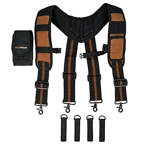 MELOTOUGH Magnetic Suspenders Tool Belt Suspenders with Large Moveable Phone Holder, Pencil Holder, Adjustable Size Padded Suspenders (Khaki)…
