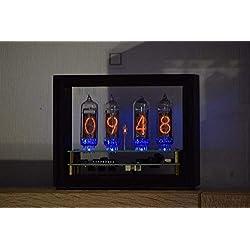 AstronimasClock-Frame IN-14 Retro Vintage Nixie Tube Clock. Handmade Bog Oak