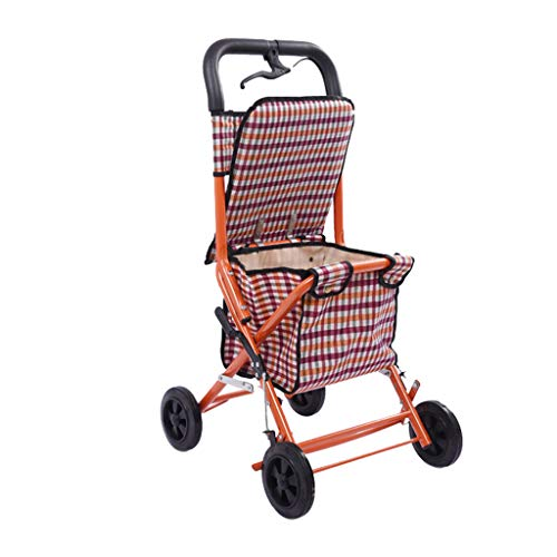 Hand Trucks Shopping Trolleys, Convenient Folding Trolley - Four-Wheeled Shopping Cart for The Elderly - A Walker with Wheeled Seats